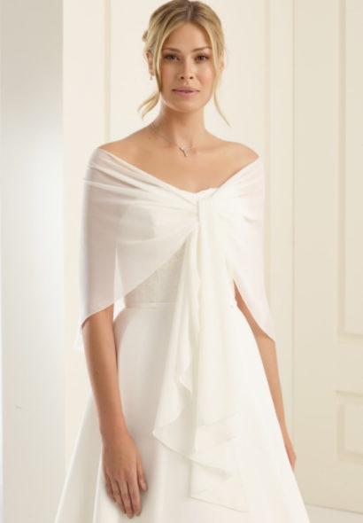 Sjaal van chiffon, grootte 140cm x 120cm x 40cm - E13 ivory - € 25