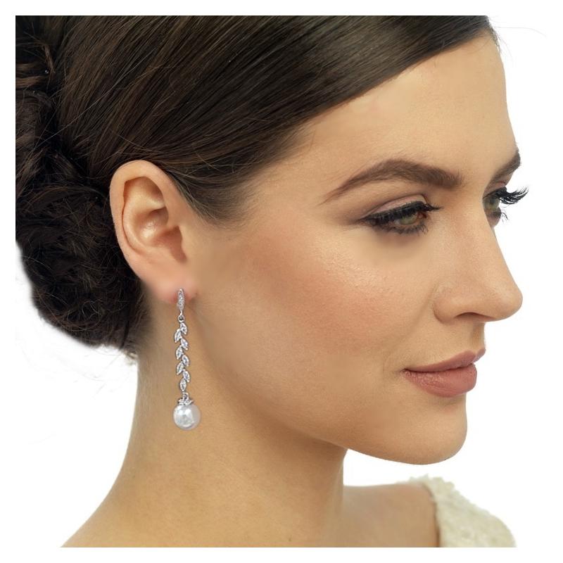 Swarovski parel drop oorbellen & heldere kristallen 7,2cm code 3092 € 50