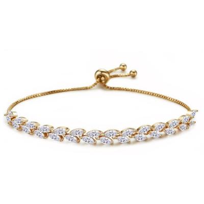 Kristallen armband met verlengkettingje - goud- 17cm + 5cm - 7272 € 45