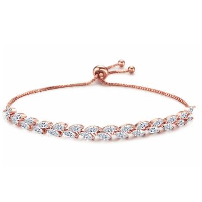 Kristallen armband met verlengkettingje -rosé - 17cm + 5cm - 7273 € 45
