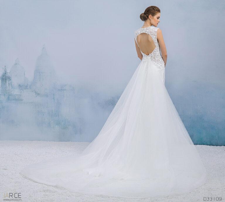 Aansluitend/A-lijn trouwjurk met blote rug en afneembare rok