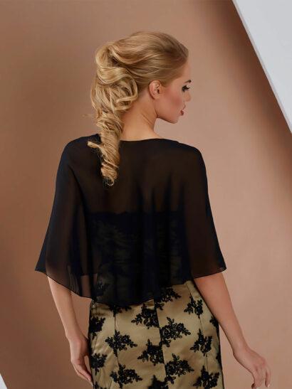 Sjaal van chiffon, grootte 140cm x 120cm x 40cm - E13 zwart - € 25