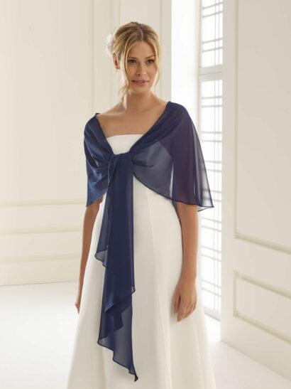 Sjaal van chiffon, grootte 140cm x 120cm x 40cm - E13 marine blauw - € 25