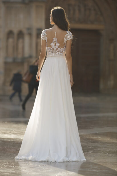 bohemian trouwjurk met soepele rok