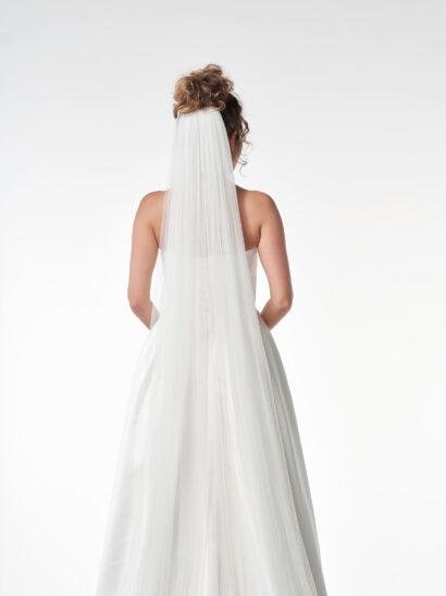 Bruidssluier - Enkellaagse sluier van zachte tule zonder potloodrand. Lengte 400 cm, breedt 400cm. S12-400 - Prijs € 120
