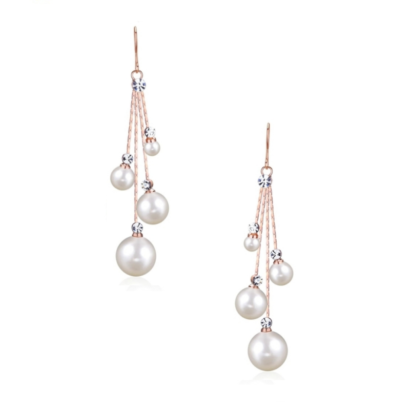 Chic and stylish chandelier earrings - unique in design with clear crystals and simulated ivory pearls on a rose gold finish. Size is 5cm long and lightweight.